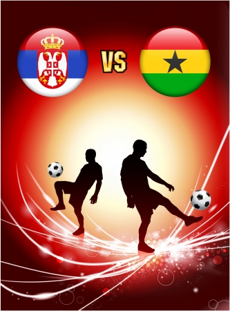 Serbia versus Ghana on Abstract Red Light Background Original Illustration Ilustração