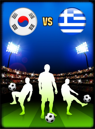 South Korea versus Greece on Stadium Event Background Original Illustration Vector