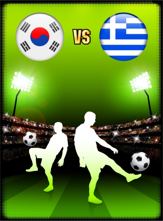 South Korea versus Greece on Stadium Event BackgroundOriginal Illustration