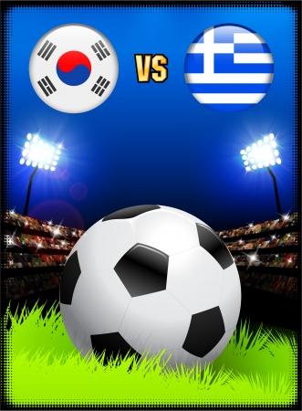South Korea versus Greece on Soccer Stadium Event BackgroundOriginal Illustration Stock fotó - 22491362