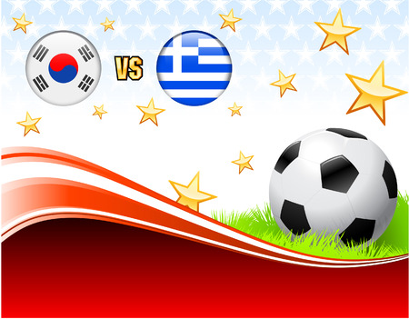 South Korea versus Greece on Abstract Red Background with StarsOriginal Illustration Illusztráció