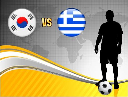 South Korea versus Greece on Abstract World Map BackgroundOriginal Illustration