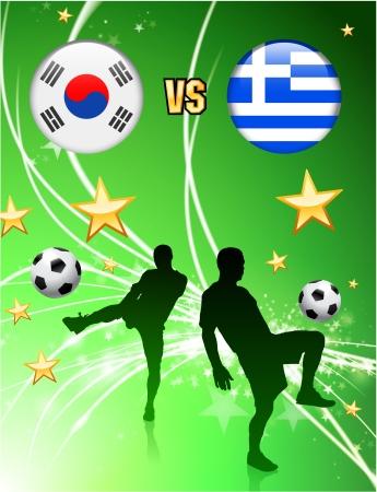 South Korea versus Greece on Abstract Green Stars BackgroundOriginal Illustration