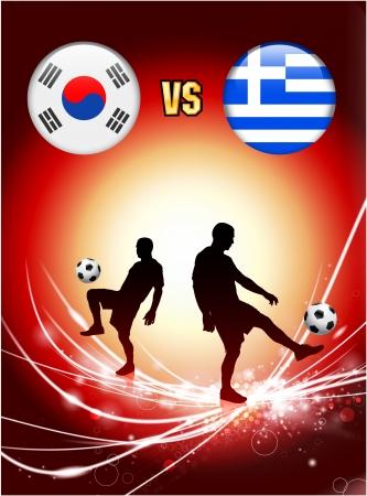 South Korea versus Greece on Abstract Red Light BackgroundOriginal Illustration Illusztráció