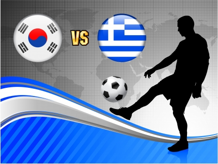 South Korea versus Greece on Blue Abstract World Map BackgroundOriginal Illustration Illusztráció
