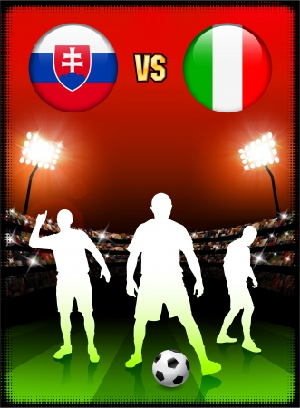 Slovakia versus Italy on Stadium Event Background Original Illustration Vector