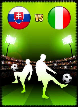 versus: Slovakia versus Italy on Stadium Event Background Original Illustration