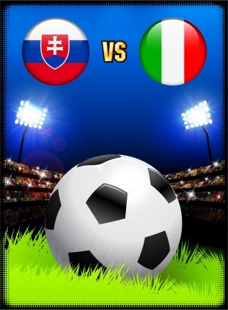Slovakia versus Italy on Soccer Stadium Event BackgroundOriginal Illustration