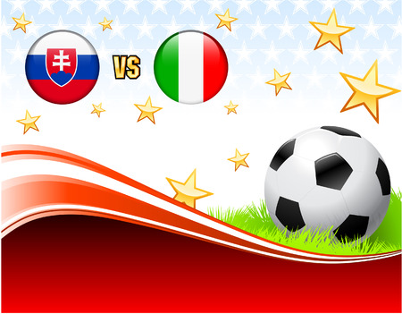 Slovakia versus Italy on Abstract Red Background with StarsOriginal Illustration