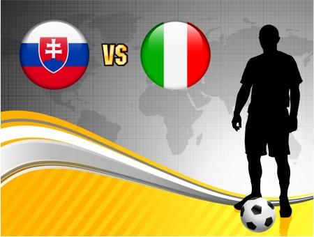 Slovakia versus Italy on Abstract World Map BackgroundOriginal Illustration