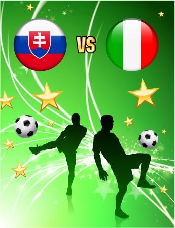 Slovakia versus Italy on Abstract Green Stars BackgroundOriginal Illustration