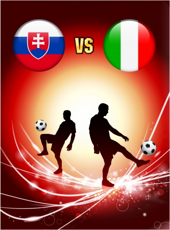 Slovakia versus Italy on Abstract Red Light BackgroundOriginal Illustration Illusztráció