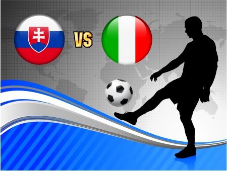 Slovakia versus Italy on Blue Abstract World Map BackgroundOriginal Illustration Stock fotó - 22491410