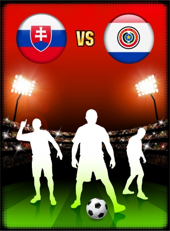 Slovakia versus Paraguay on Stadium Event BackgroundOriginal Illustration