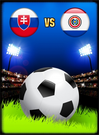 versus: Slovakia versus Paraguay on Soccer Stadium Event Background Original Illustration