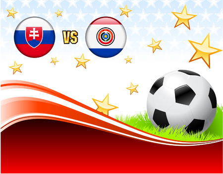 Slovakia versus Paraguay on Abstract Red Background with Stars