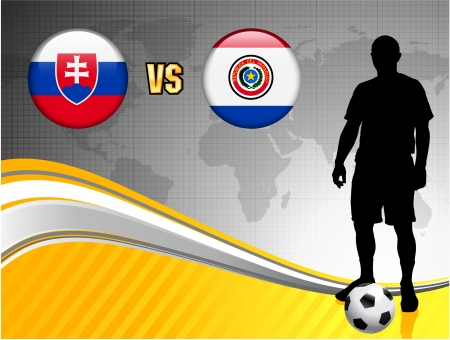 Slovakia versus Paraguay on Abstract World Map Background Original Illustration Vector
