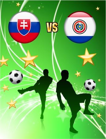 Slovakia versus Paraguay on Abstract Green Stars BackgroundOriginal Illustration