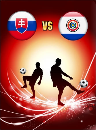 versus: Slovakia versus Paraguay on Abstract Red Light Background Original Illustration