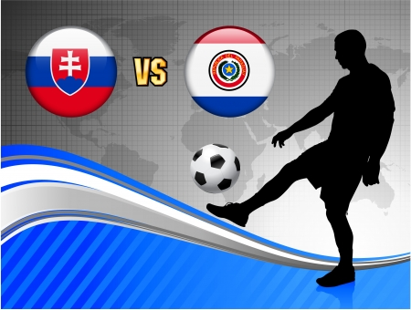 versus: Slovakia versus Paraguay on Blue Abstract World Map Background Original Illustration