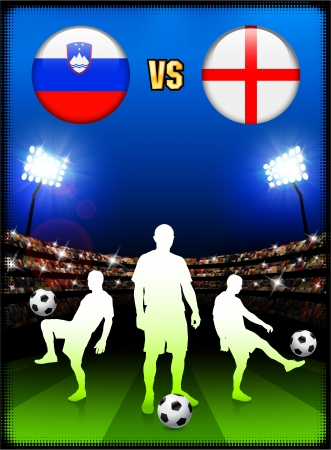 Slovenia versus England on Stadium Event BackgroundOriginal Illustration Stock fotó - 22491456