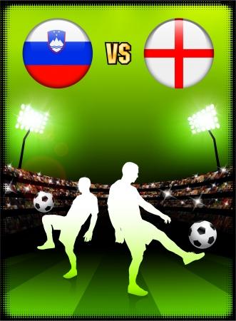 Slovenia versus England on Stadium Event BackgroundOriginal Illustration Illusztráció