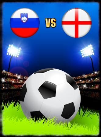 Slovenia versus England on Soccer Stadium Event BackgroundOriginal Illustration Illusztráció