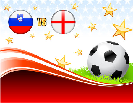 Slovenia versus England on Abstract Red Background with StarsOriginal Illustration