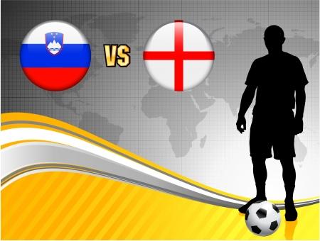 Slovenia versus England on Abstract World Map BackgroundOriginal Illustration Illusztráció