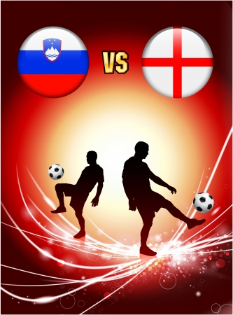 Slovenia versus England on Abstract Red Light Background