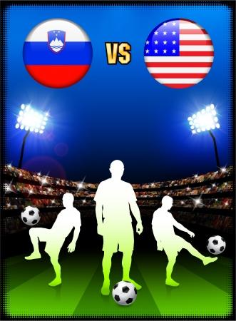 Slovenia versus United States on Stadium Event BackgroundOriginal Illustration