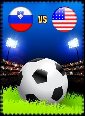 Slovenia versus United States on Soccer Stadium Event BackgroundOriginal Illustration