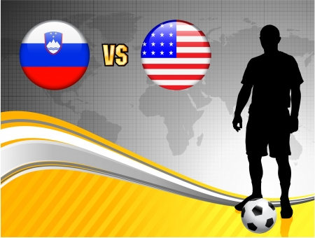 Slovenia versus United States on Abstract World Map BackgroundOriginal Illustration