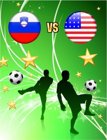 Slovenia versus United States on Abstract Green Stars BackgroundOriginal Illustration