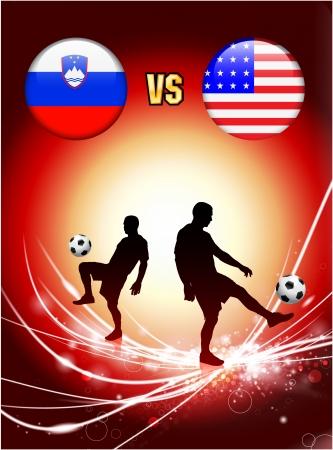 Slovenia versus United States on Abstract Red Light BackgroundOriginal Illustration