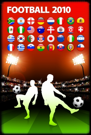 Global 2010 Soccer Match with Stadium BackgroundOriginal Illustration