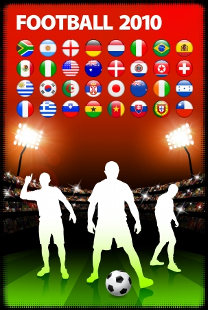 Global 2010 Soccer Match with Stadium Background Original Illustration Vector