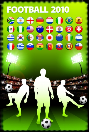 soccer field: Global 2010 Soccer Match with Stadium Background Original Illustration Illustration