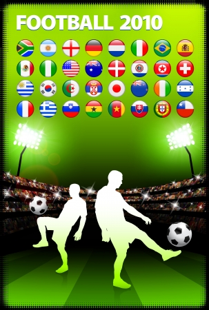 Global 2010 Soccer Match with Stadium Background
