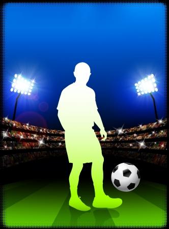 Soccer Player on Stadium BackgroundOriginal Illustration
