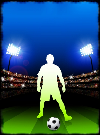 Soccer Player on Stadium Background