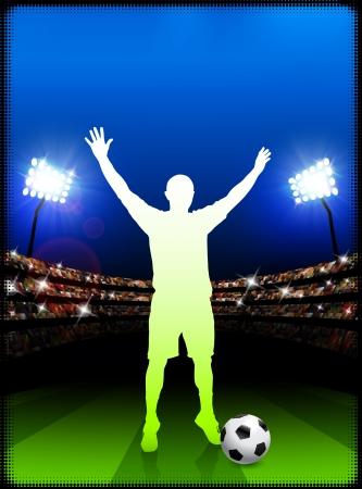 Soccer Player on Stadium BackgroundOriginal Illustration Stock Vector - 22491644