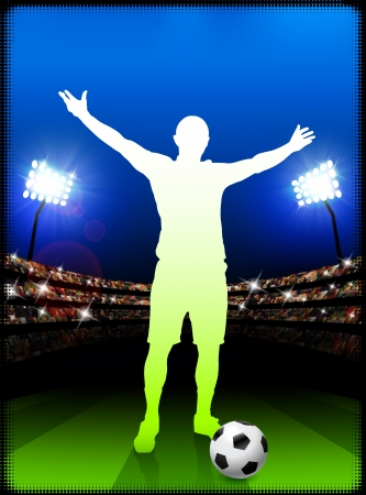 Soccer Player on Stadium Background Original Illustration
