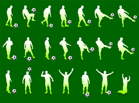 Green Soccer Player Silhouette CollectionOriginal Illustration
