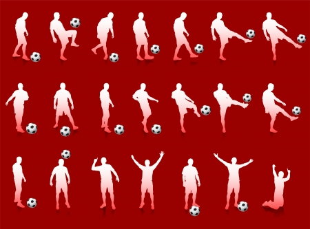 Red Soccer Player Silhouette CollectionOriginal Illustration Illusztráció