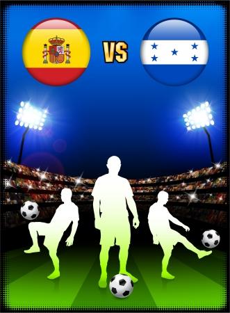 Spain versus Honduras on Stadium Event Background Original Illustration Vector