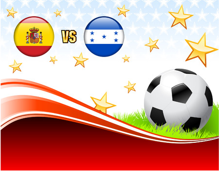 Spain versus Honduras on Abstract Red Background with Stars Original Illustration Vector