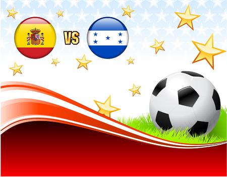 Spain versus Honduras on Abstract Red Background with StarsOriginal Illustration