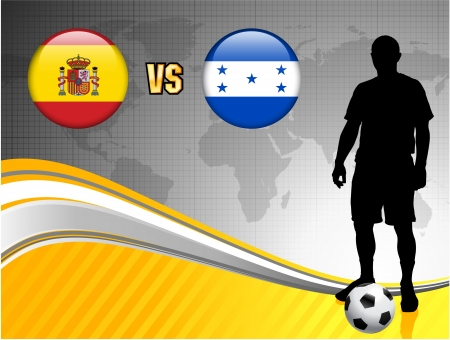 versus: Spain versus Honduras on Abstract World Map Background Original Illustration
