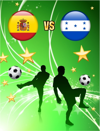 Spain versus Honduras on Abstract Green Stars Background Original Illustration